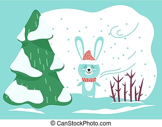 Hare or Rabbit Stand in Winter Forest, Wild Animal