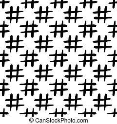 Hashtag icon seamless pattern. Isolated on white background.