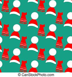 Hat and scarf pattern on the green background. Vector illustration