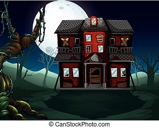 Haunted house in the woods at night