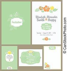 Hawaiian Wedding Invitation Set. Light Green. Elisabeth Alexander graphic design