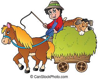 Hay cart with cartoon farmer
