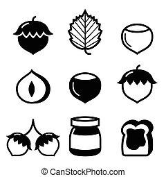 Nature, food icons - hazelnuts, hazelnut bread spread icons set