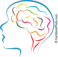 head and brain abstract illustration in brush drawing style
