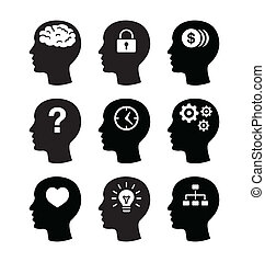 Thinking, creating ideas concept - black head icons isolated on white
