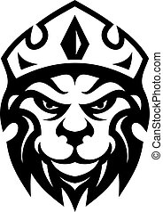 Head of a fierce crowned lion depicting royalty in a black and white design suitable for heraldry