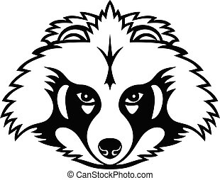 Mascot illustration of head of a Japanese raccoon dog or tanuki, a subspecies of the Asian raccoon dog viewed from front on isolated background in retro black and white style.