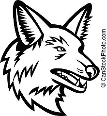 Black and white sports mascot illustration of head of a maned wolf, the largest canid of South America viewed from side on isolated background in retro style.