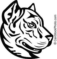 Head of a Spanish Bulldog or Spanish Alano Mascot Black and White