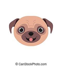 head of cute pug dog on white background vector illustration design