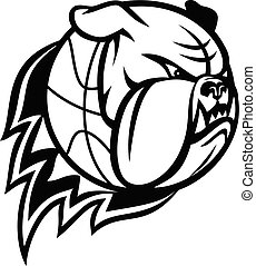 Head of English Bulldog or British Bulldog Basketball Ball on Fire Blazing Mascot Black and White