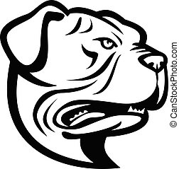 Head of Leavitt Bulldog or Old English Bulldog Side View Mascot Retro Black and White