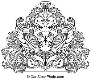 head of lion black white