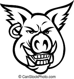 Head of Pink Pig Wearing Earring Smiling Front View Mascot Retro Black and White