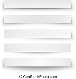 Header blank web banner shadow template isolated on white background.