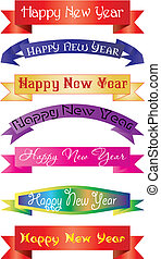 set of headlines with `Happy New Year` wish, vector illustration