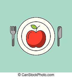 health food apple plate fork knife