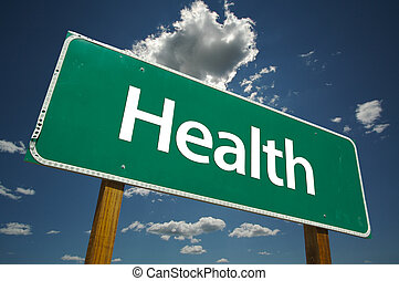 """""""Health"""" Road Sign with dramatic clouds and sky."""