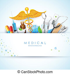 illustration of Healthcare and Medical background with medicine and stethoscope