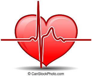 Heart with pulse graph as a healthcare concept
