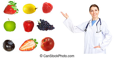 Medical doctor and fruits. Isolated over white background