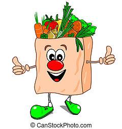 A cartoon vector shopping bag with vegetables