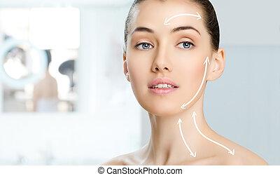 beauty woman on the bathroom background