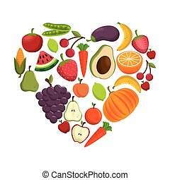 healthy food concept heart shape icon