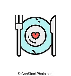 Healthy food, plate with fork and knife, restaurant menu flat color line icon.