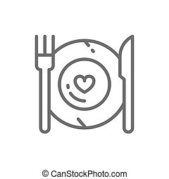 Healthy food, plate with fork and knife, restaurant menu line icon.