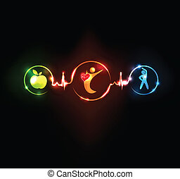 Healthy lifestyle. Healthy food and fitness leads to healthy heart and healthy body.