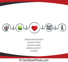 Human health care illustration. Healthy food and fitness leads to healthy heart and life. Symbols connected with heart rate monitoring line.