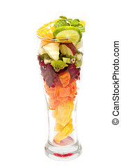Healthy mix fruit in glass for healthy juice