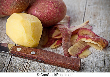 healthy organic peeled potatoes