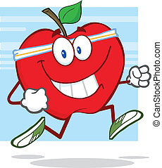 Healthy Red Apple Character Jogging
