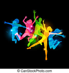 Healthy Young Adults. Active jumping people. Vector Illustration.