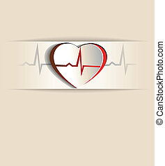 Vintage Heart, cardiogram concept. Paper looking design. Heart and heart rate monitoring line.