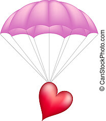 Heart at pink parachute isolated on white background