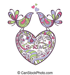 heart, birds, spring