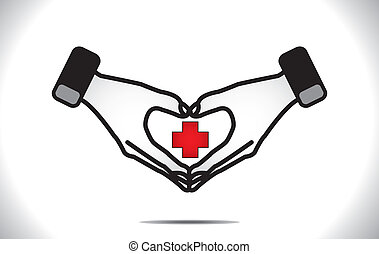 Love Health Care or Heart Care Concept Illustration with two hands in the shape of heart around red plus sign