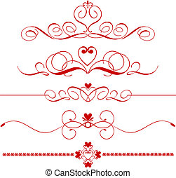 Various different designs of decorative heart dividers