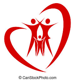 abstract heart family vector