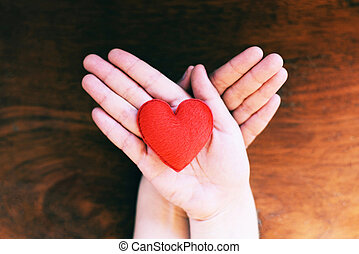 heart in hand for philanthropy concept - woman holding red heart