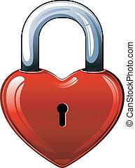 Heart lock over white. EPS 8, AI, JPEG