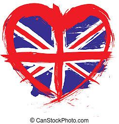 heart shape england flag