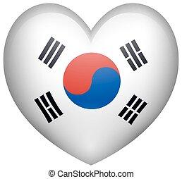 Heart shape with Korean flag