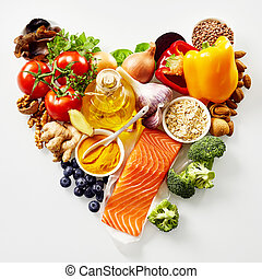 Heart-shaped still life of healthy food