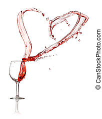Heart splash from a glass of red wine
