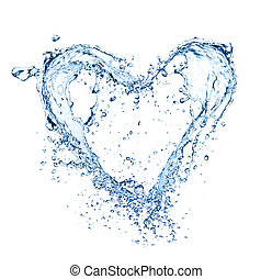 Heart symbol made of water splashes, isolated on white backg Round