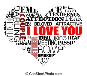 Heart vector illustration with various love words written in different styles